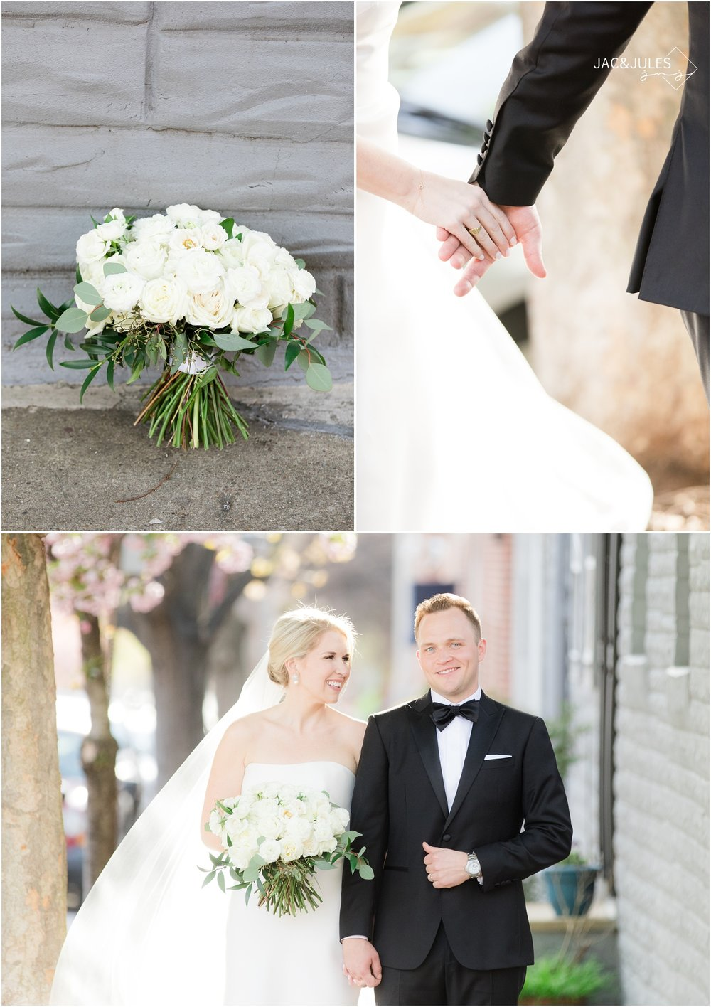 Romantic wedding photos on cherry blossom lined street in downtown Baltimore, MD.