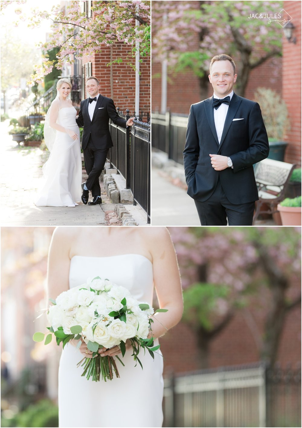 Classic photos of bride and groom on downtown Baltimore street.