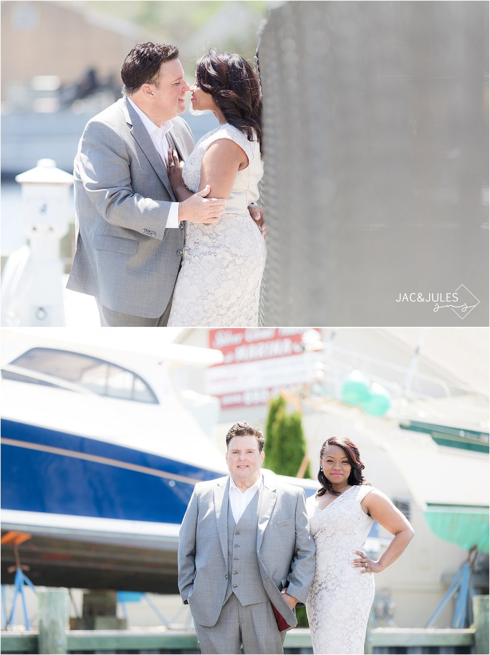 romantic wedding pictures at nj marina