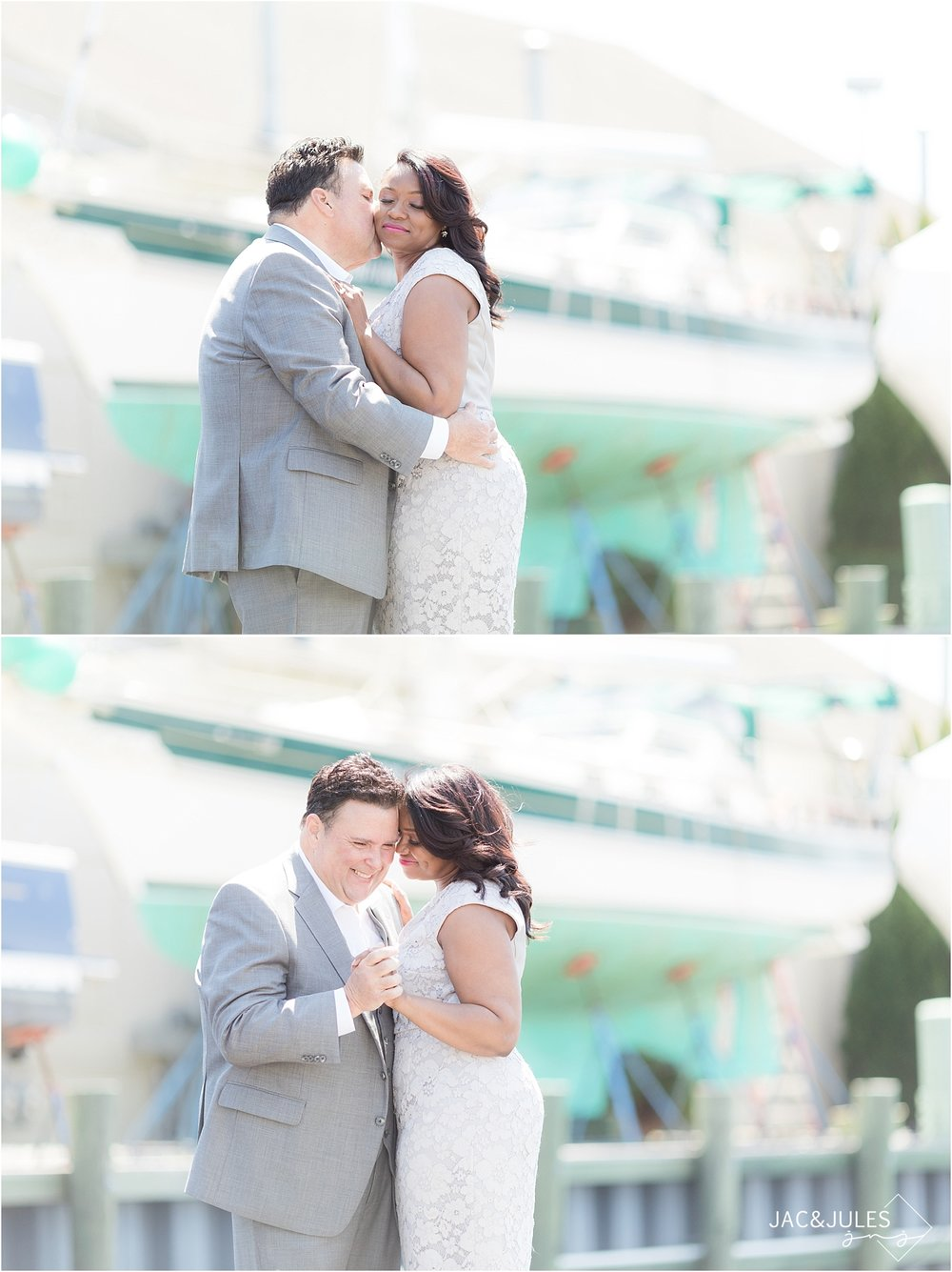 romantic wedding photos at south jersey marina