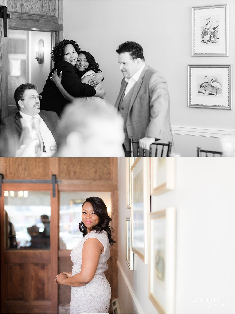 candid wedding picture at smithville inn in nj