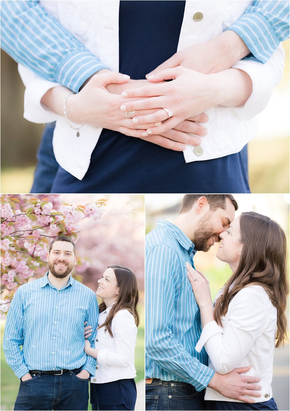 spring lake engagement photos with cherry blossoms