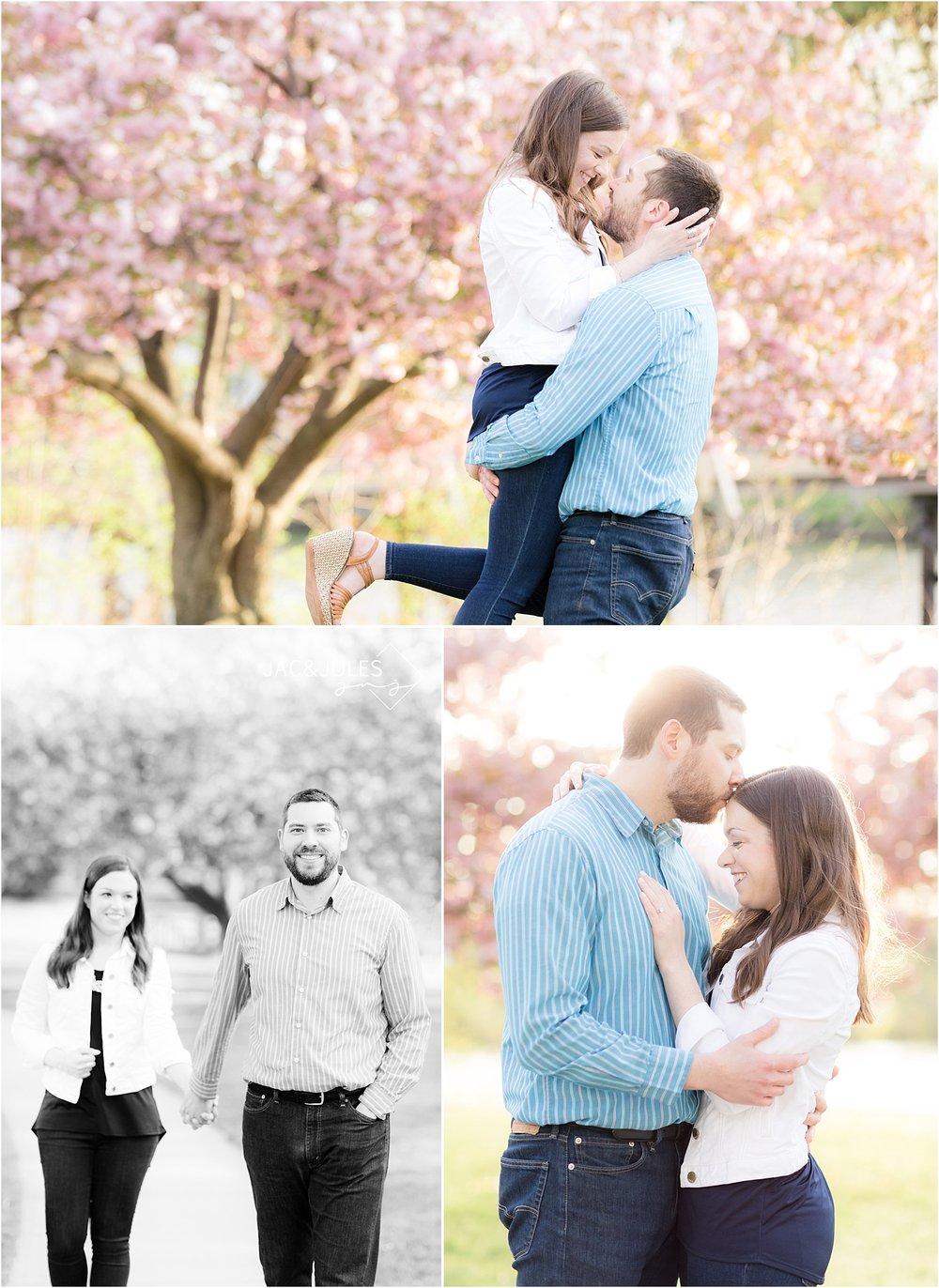 romantic engagement photo in divine park spring lake nj