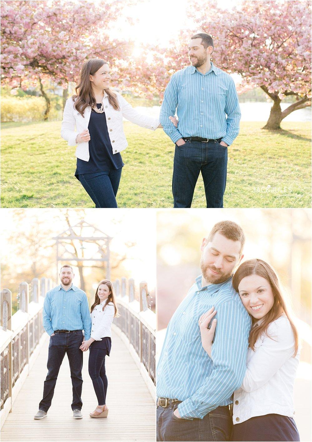 romantic engagement photo on the bridge in spring lake nj