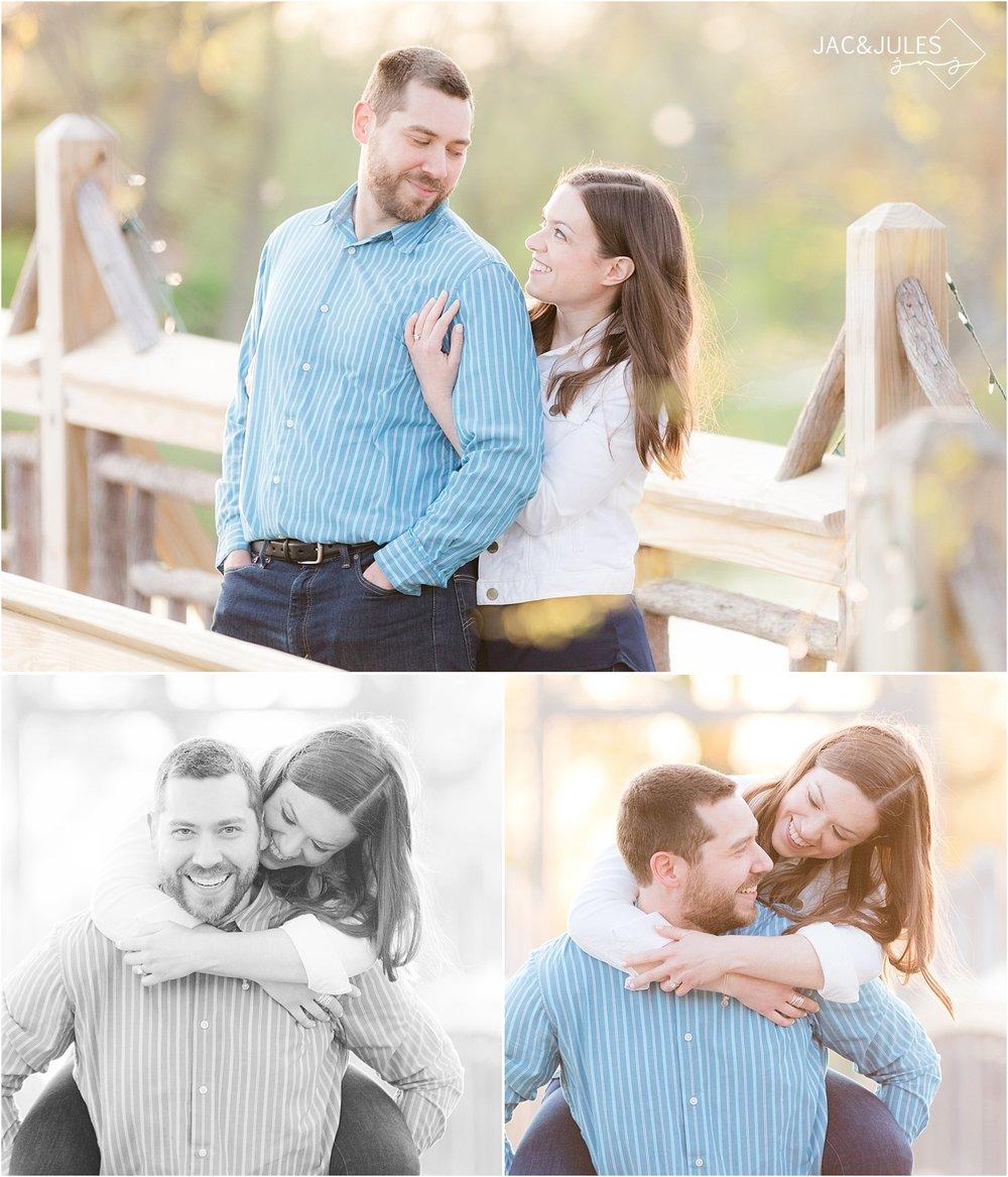engagement photo on the bridge in divine park spring lake nj