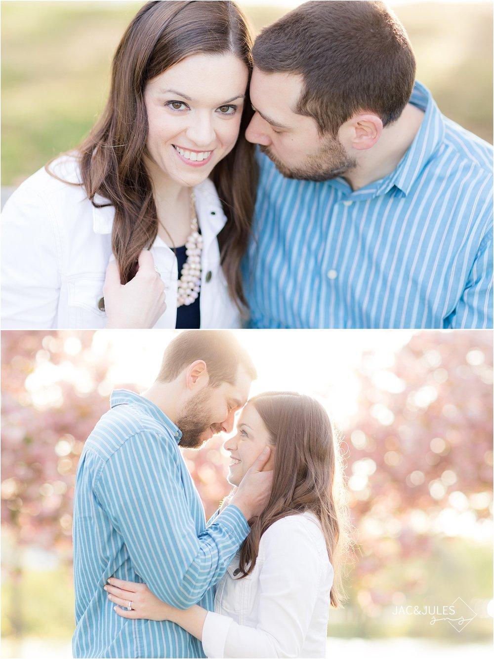 romantic engagement portraits at divine park with cherry blossoms