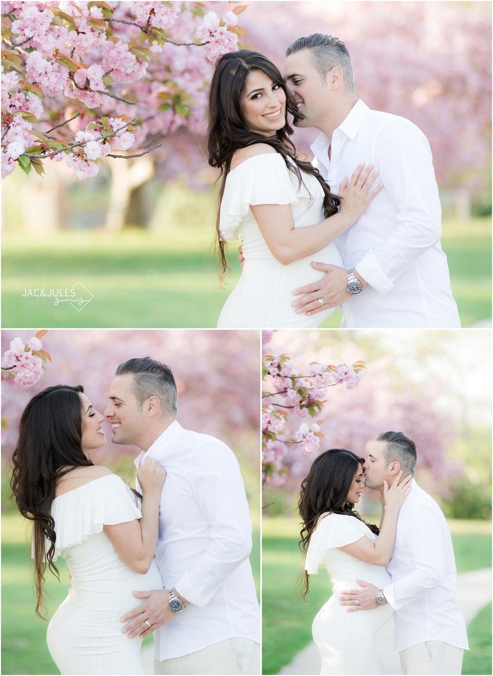 Sweet, loving maternity photos with cherry blossoms at Divine Park in Spring Lake, NJ.