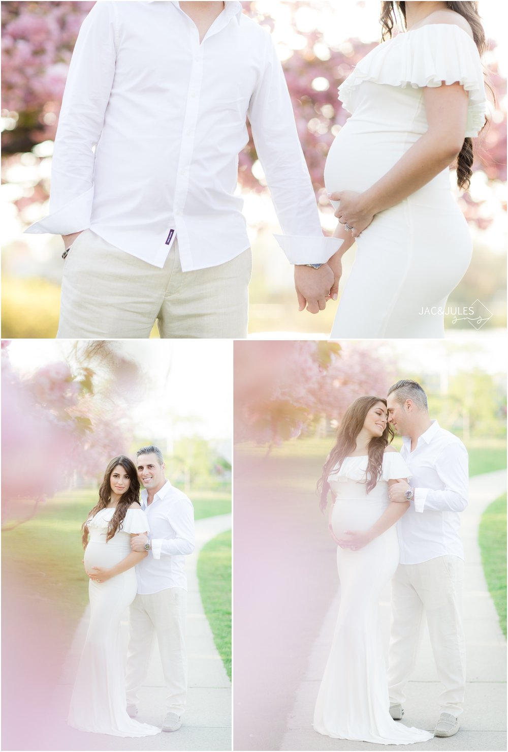 whimsical maternity photos with cherry blossoms at Divine Park in Spring Lake, NJ.