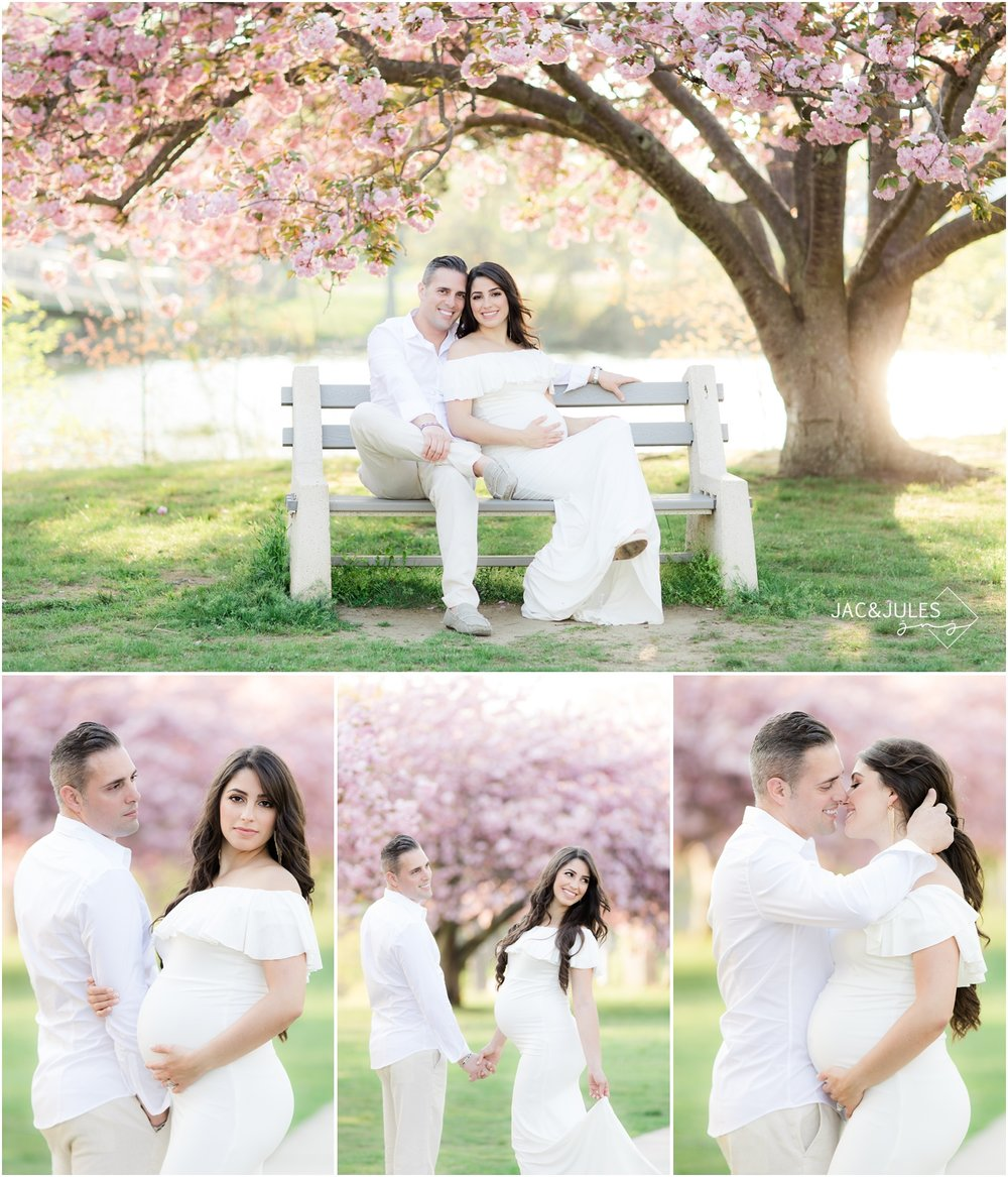 fun maternity photos with cherry blossoms at Divine Park in Spring Lake, NJ.