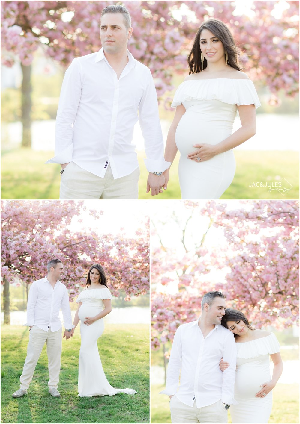 Pretty pregnancy photos with cherry blossoms at Divine Park in Spring Lake, NJ.