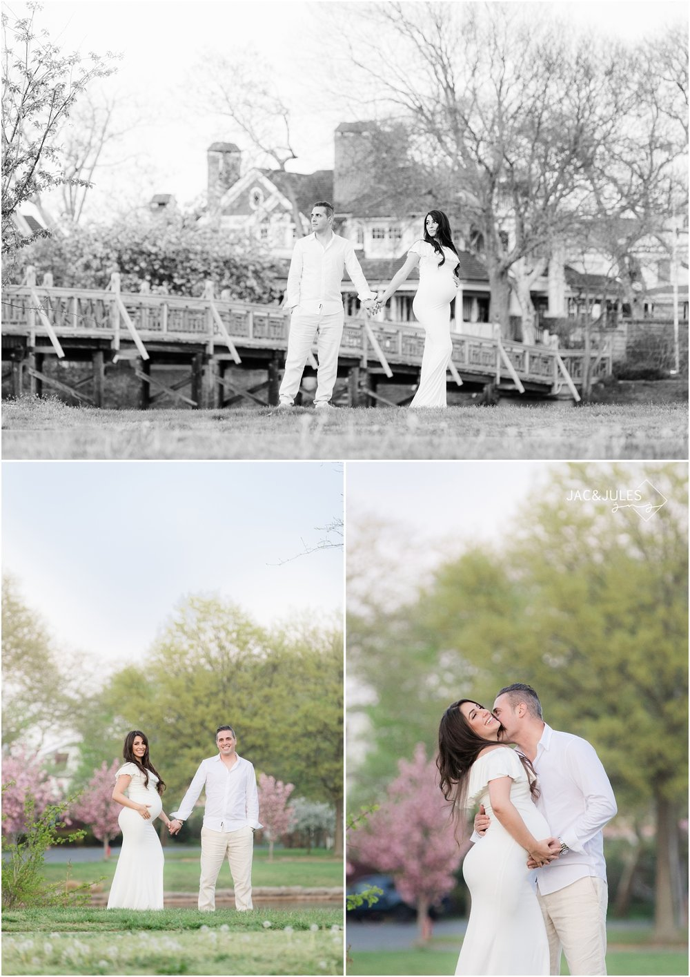Cool maternity photos with cherry blossoms at Divine Park in Spring Lake, NJ.