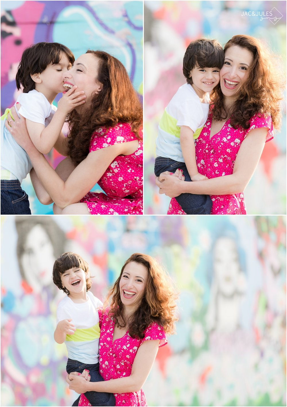 Happy, colorful and fun photos of mom and son in Asbury Park, NJ.