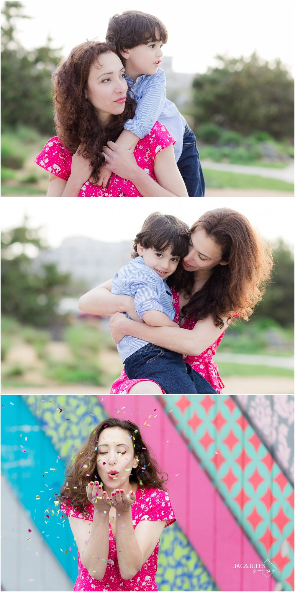 colorful mommy and me photos in asbury park, nj.