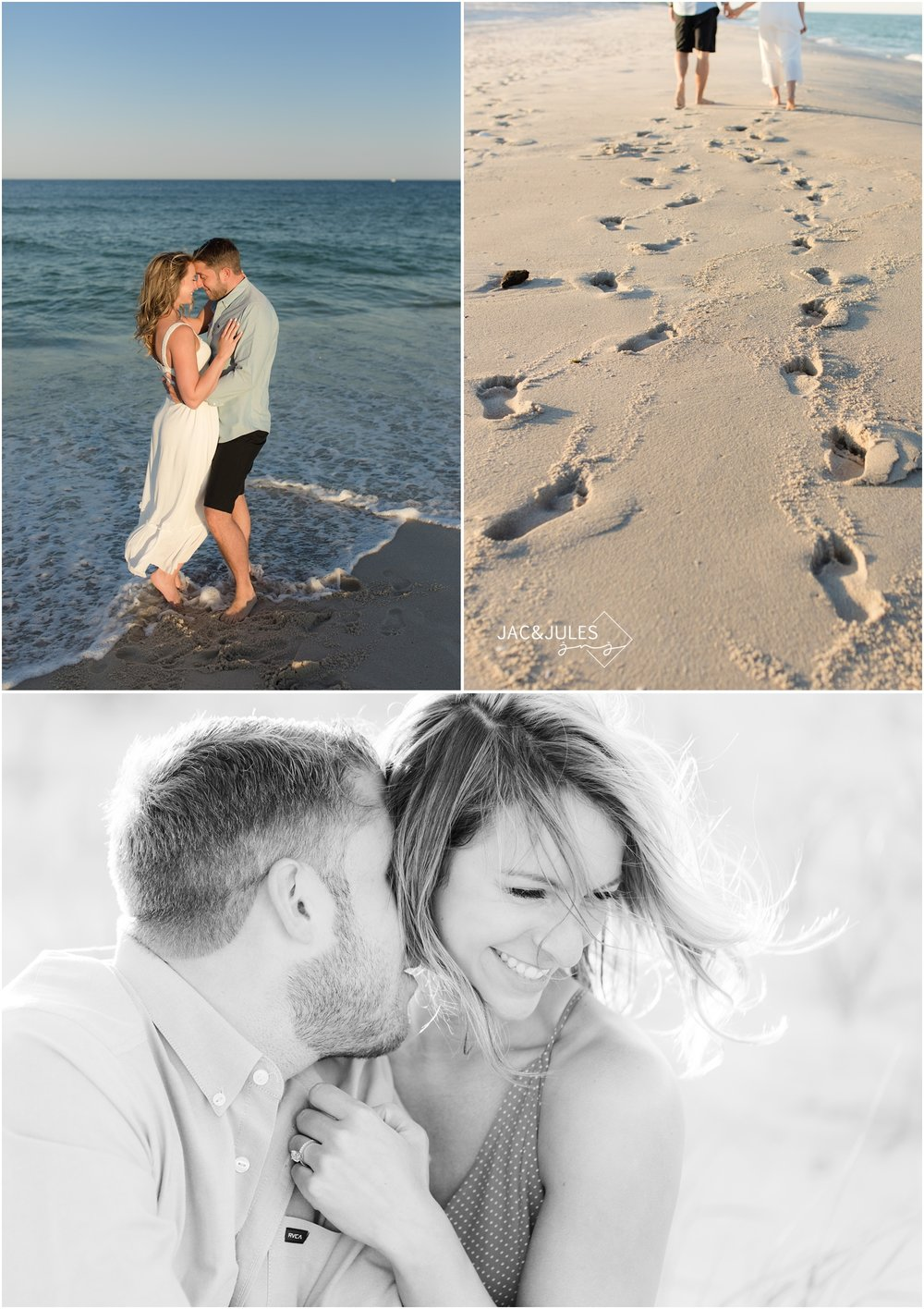 Romantic seaside photos of engaged couple at Island Beach State Park in NJ.