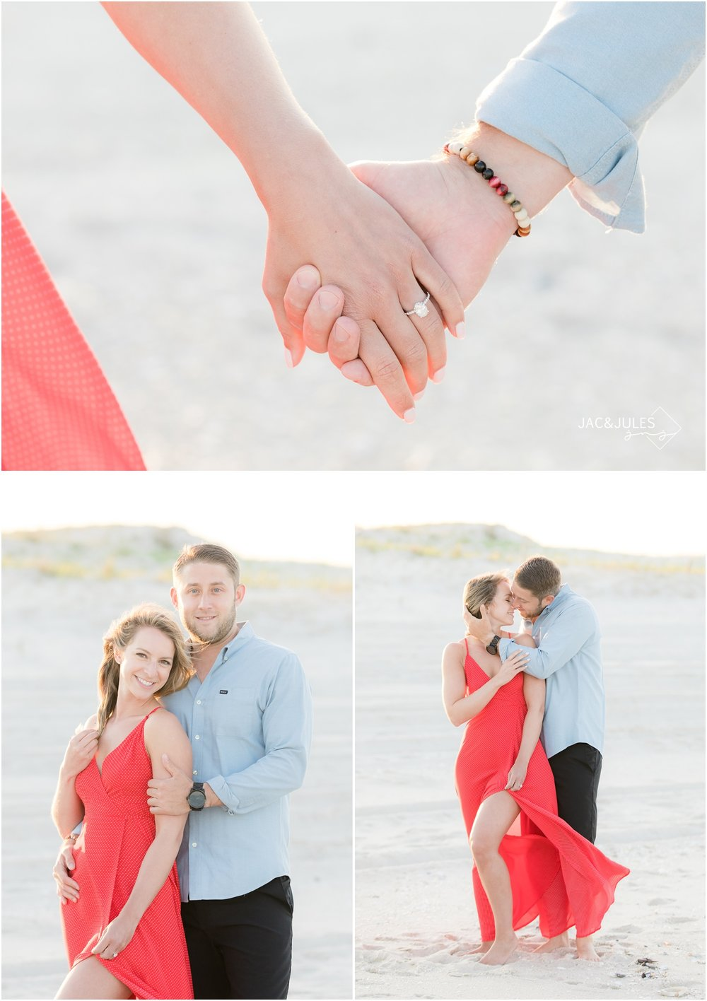 Fun and romantic photos of engaged couple holding hands and kissing on the beach at Island Beach State Park in Seaside Park, NJ.