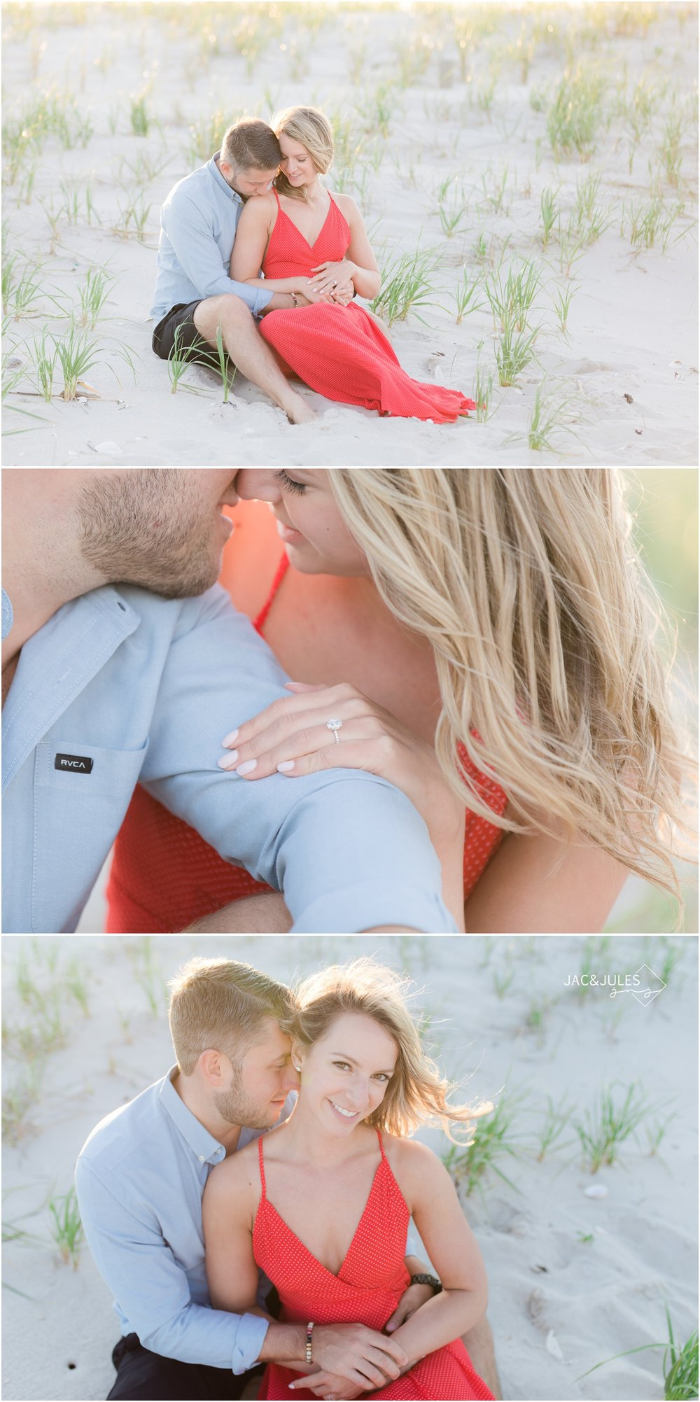 Sweet, sexy, and romantic photos of engaged couple on the beach at Island Beach State Park in Seaside Park, NJ.