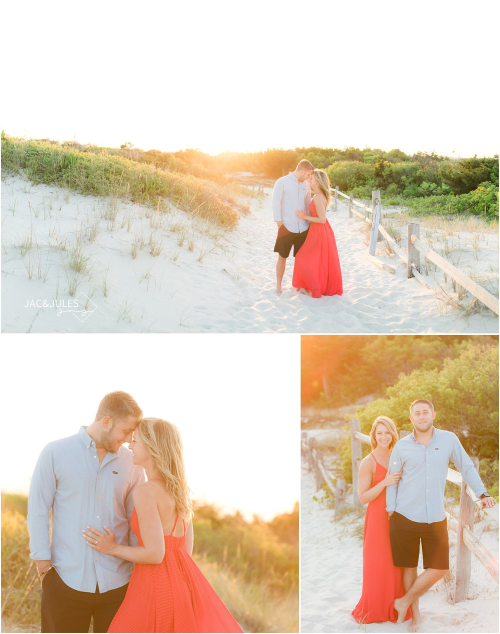 Dreamy and romantic engagement photos on the beach at sunset at Island Beach State Park in Seaside Park, NJ.