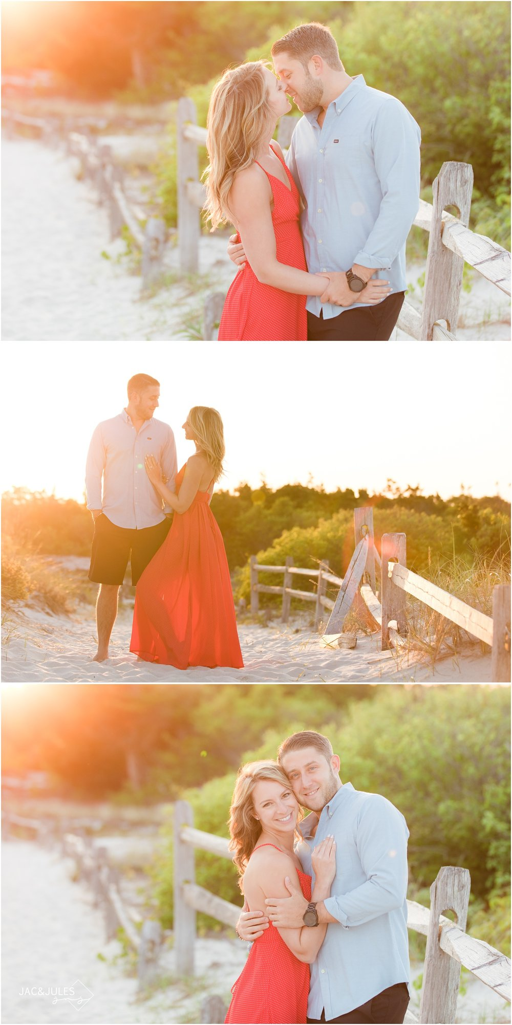 Dreamy, golden and romantic engagement photos on the beach at sunset at Island Beach State Park in Seaside Park, NJ.