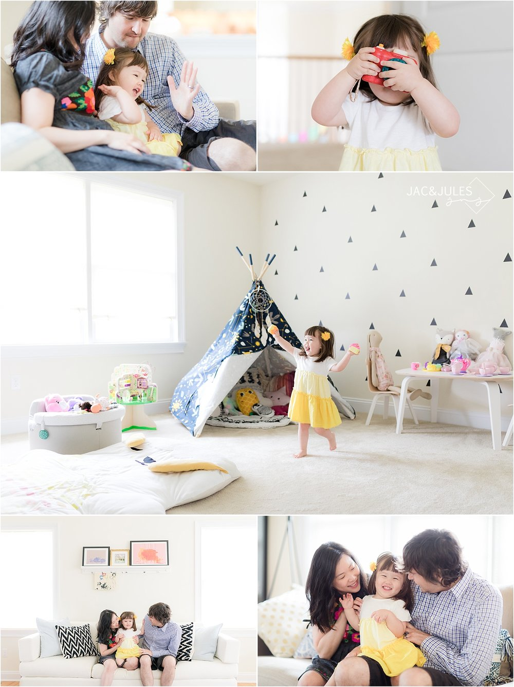 little girl playing in her unique playroom with her mom and dad