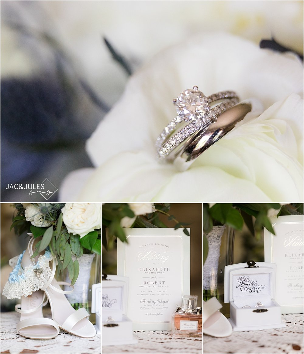 photo of the rings and wedding invitation