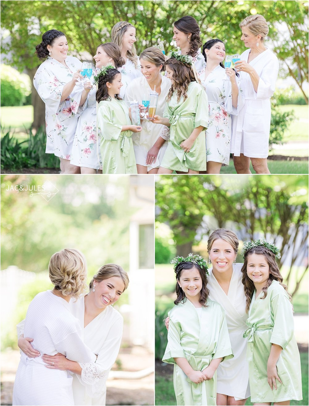 photo of bridesmaids in their robes before the wedding