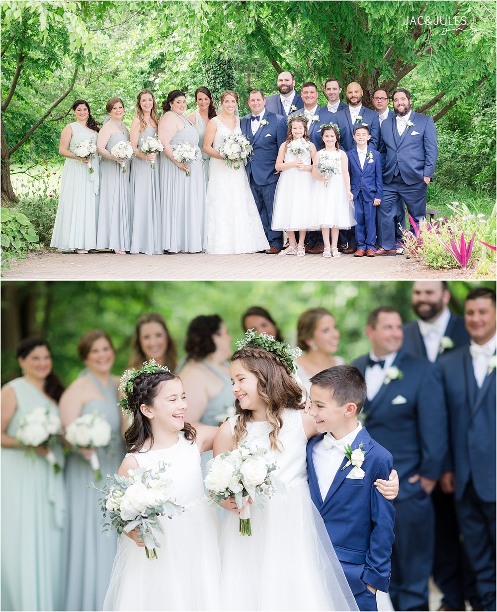 bridal party photo in mint and navy at deep cut gardens