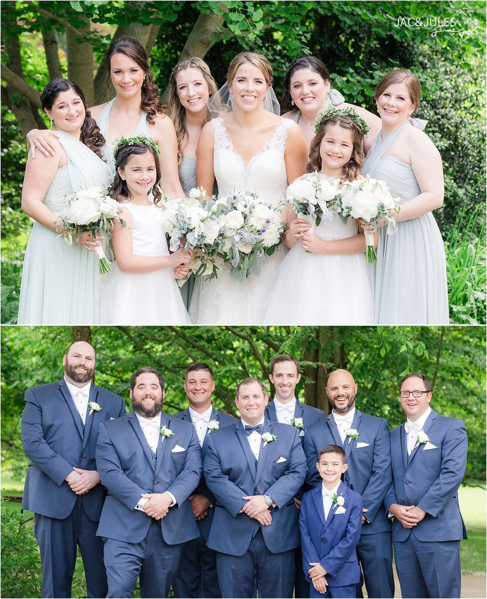 bridesmaids and groomsmen at deep cut gardens in middletown nj