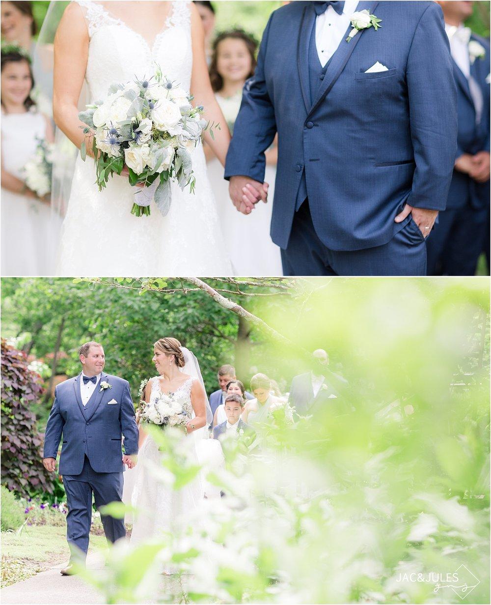 bride and groom walking at deep cut gardens