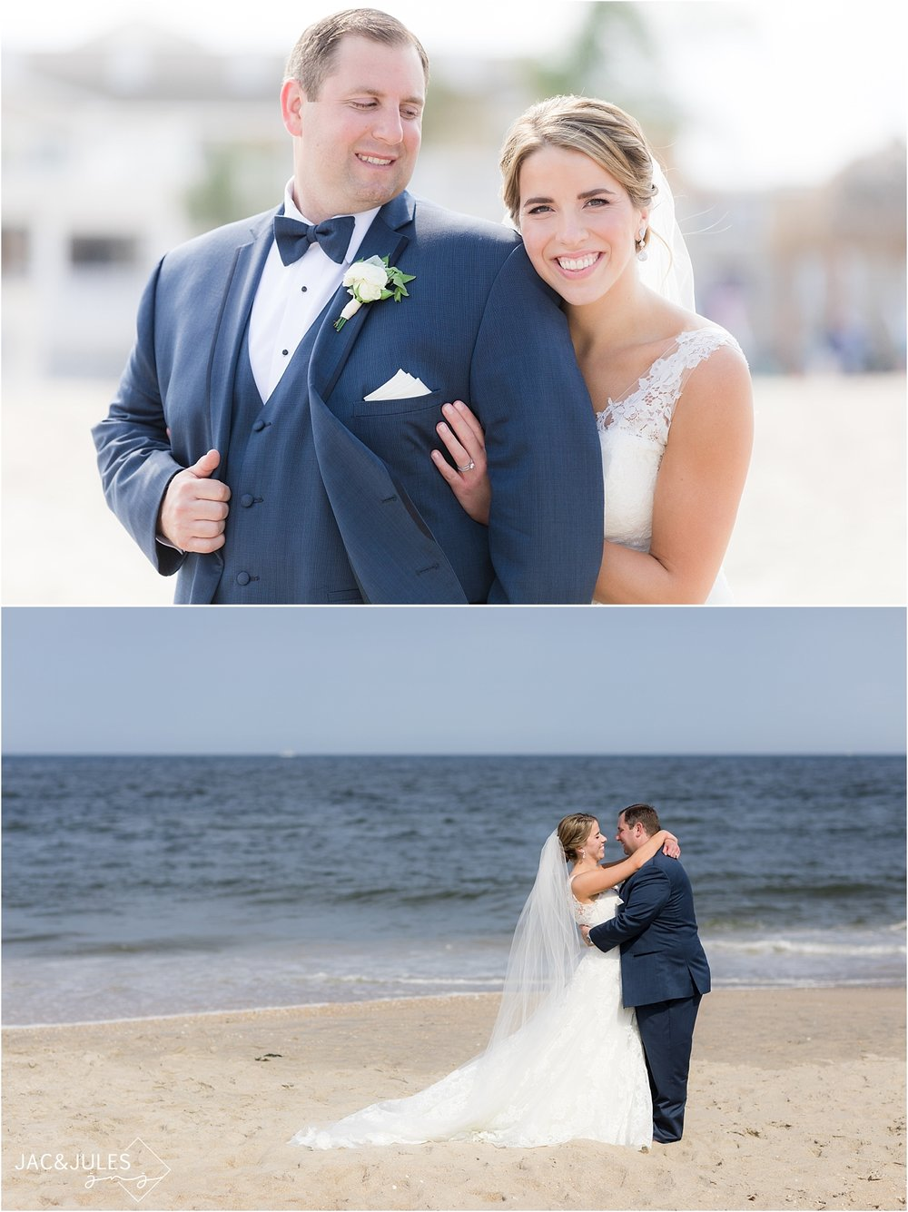 bride and groom pose for portrait on the beach in nj