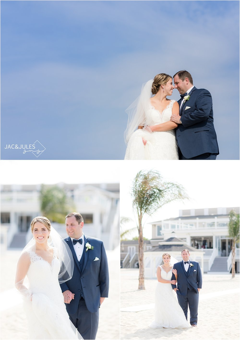 bride and groom portraits on the beach at windows on the water