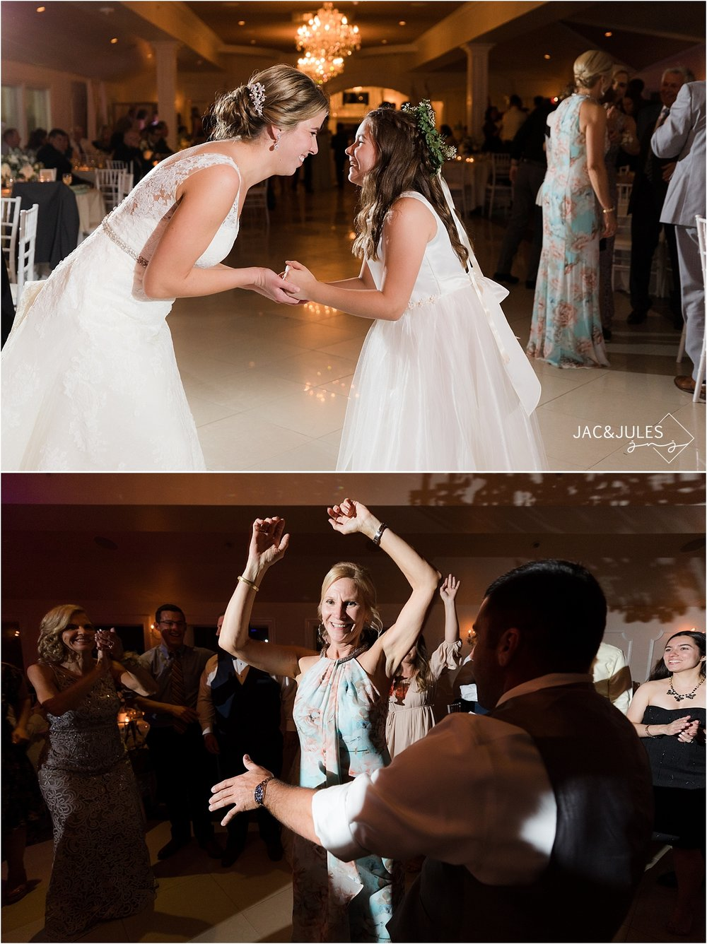 bride and flower dancing together at wedding reception