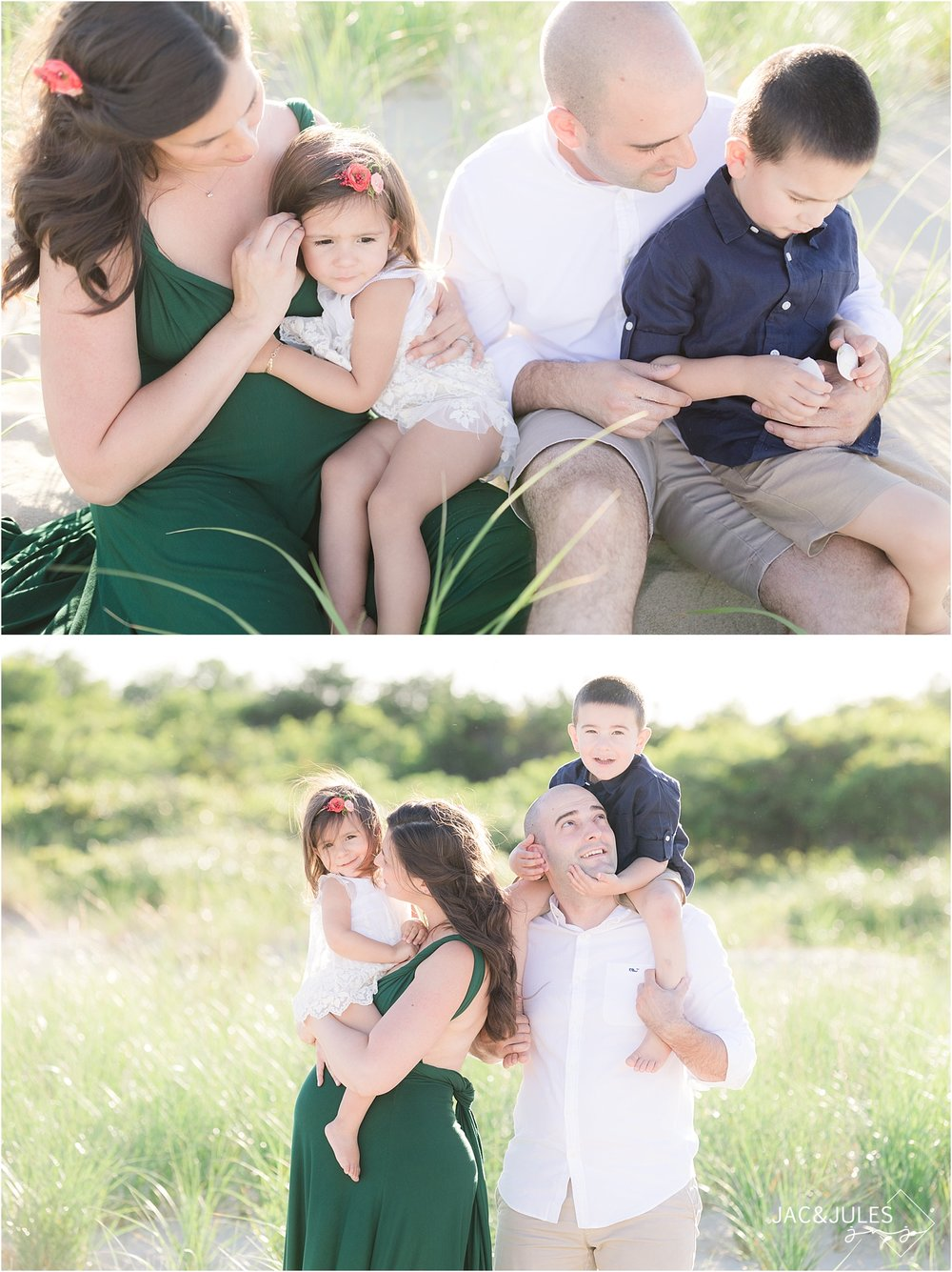 candid family maternity photo at sandy hook beach
