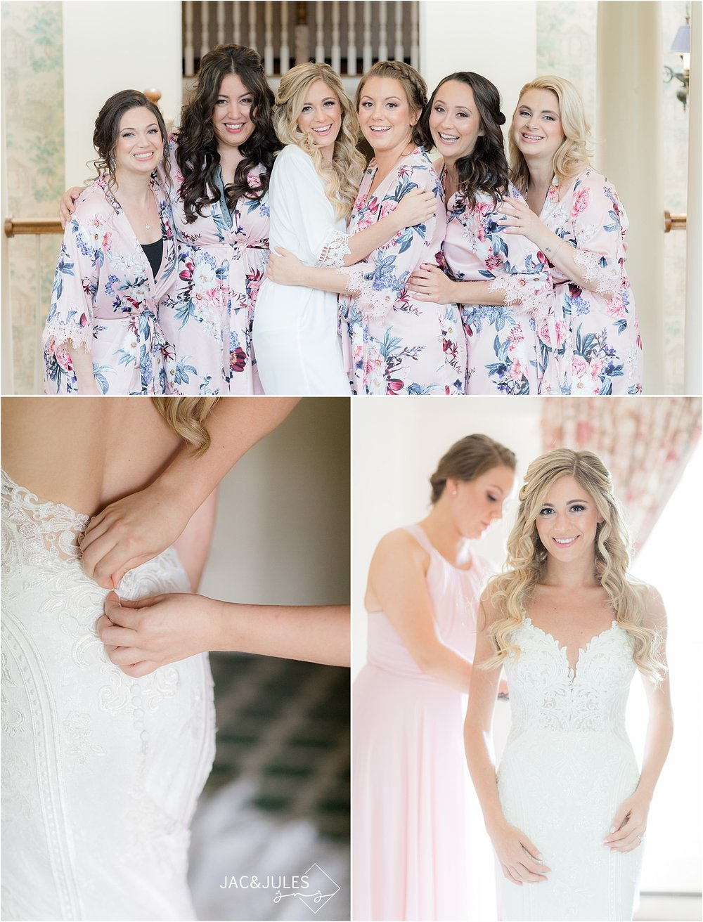 bridesmaids in robes at olde mill inn