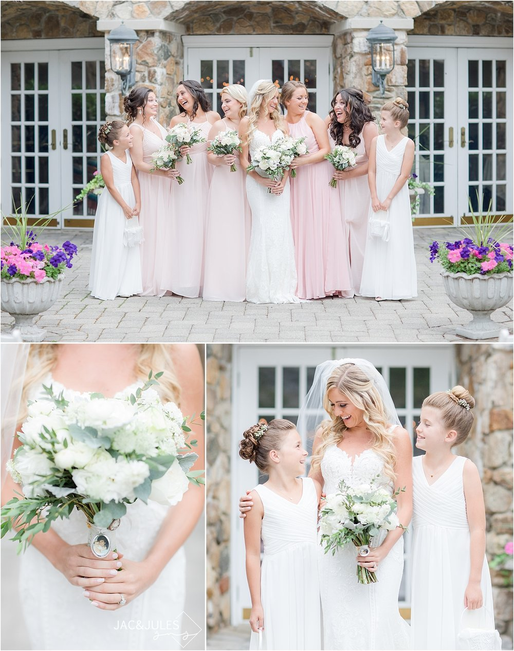 bridesmaids in blush pink dresses at olde mill inn