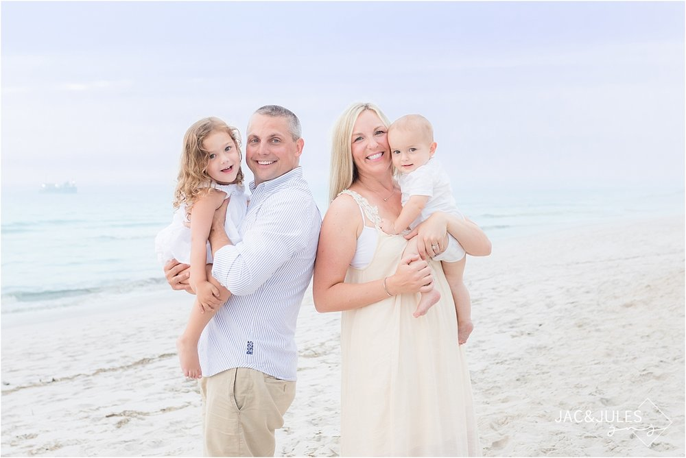 family portrait on the beach in mantoloking NJ