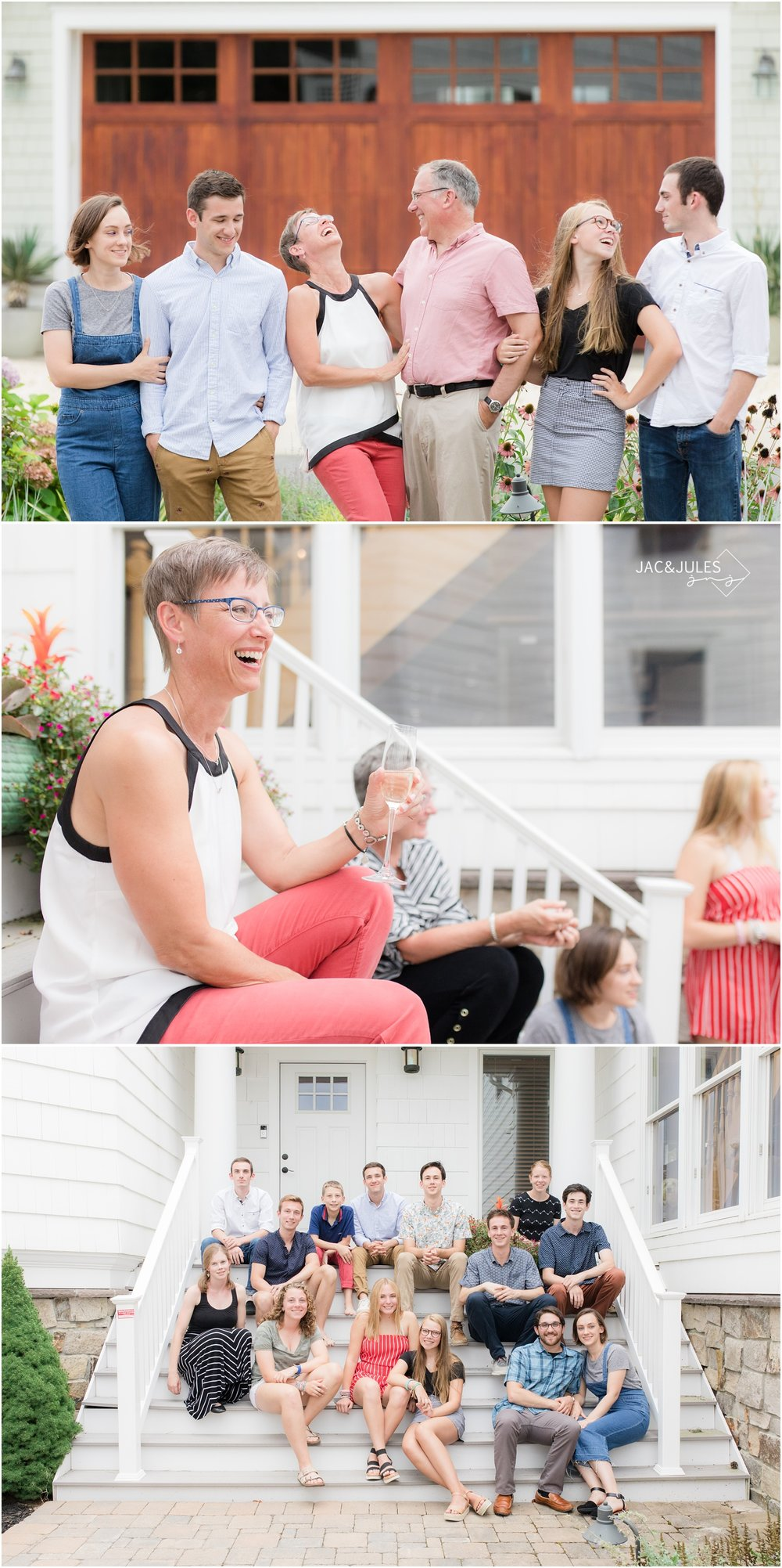 fun photos from family reunion hanging out on the front step at home in Mantoloking, NJ.