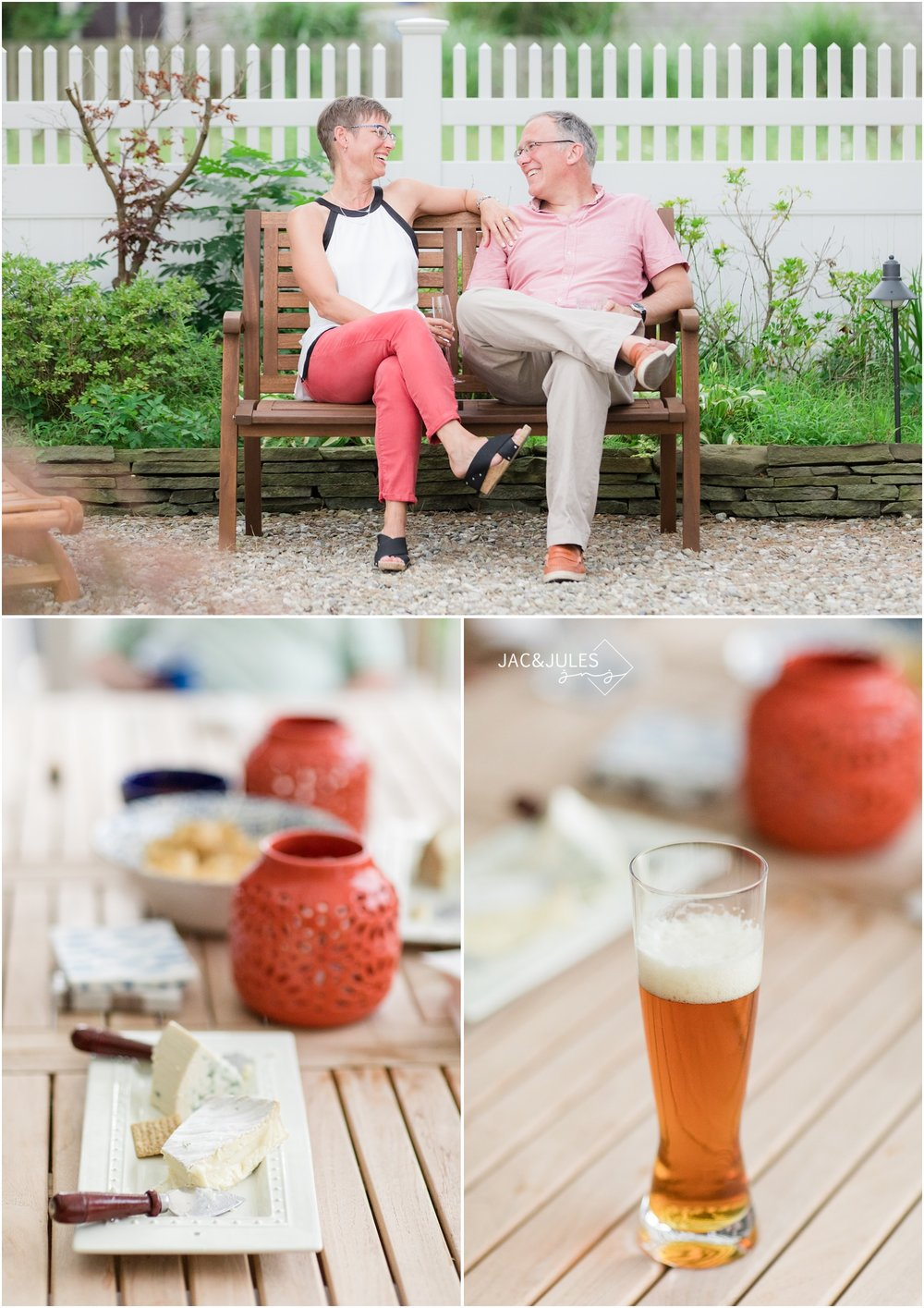 photos of couple relaxing on a bench at a family reunion at home in Mantoloking, NJ.