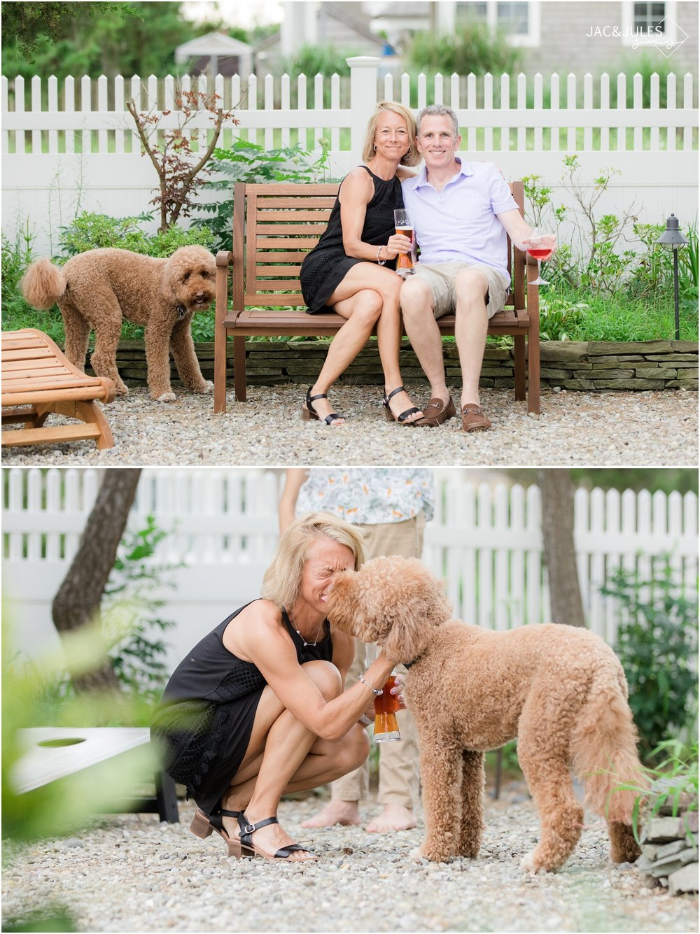 photos of couple with their dog at a family reunion at home in Mantoloking, NJ.