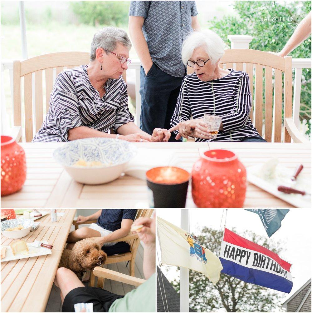 photo grandma conversating at a family reunion at home in Mantoloking, NJ.