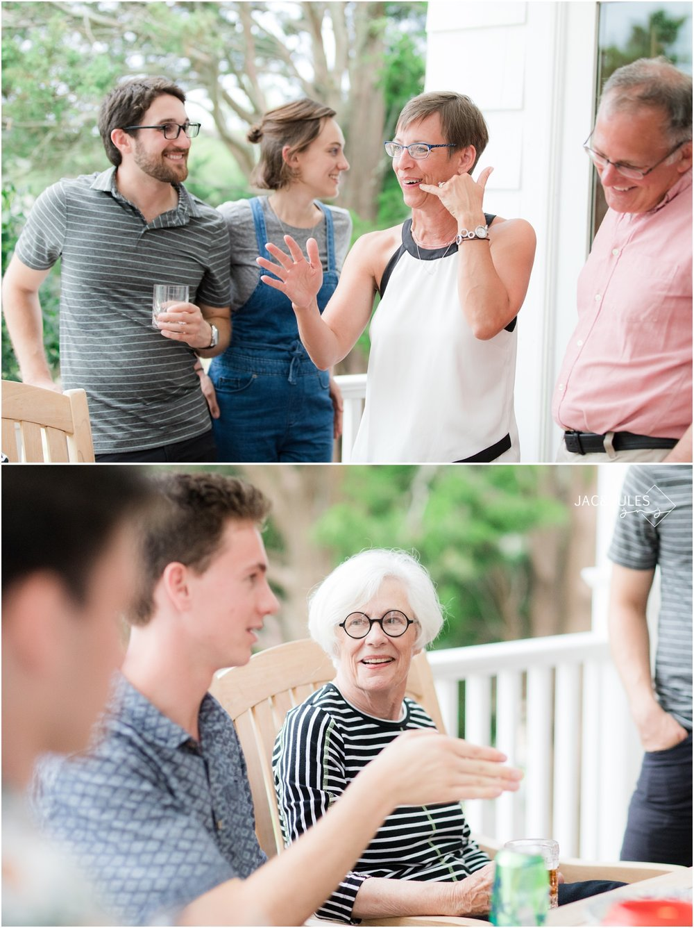photo of great conversation at a family reunion at home in Mantoloking, NJ.