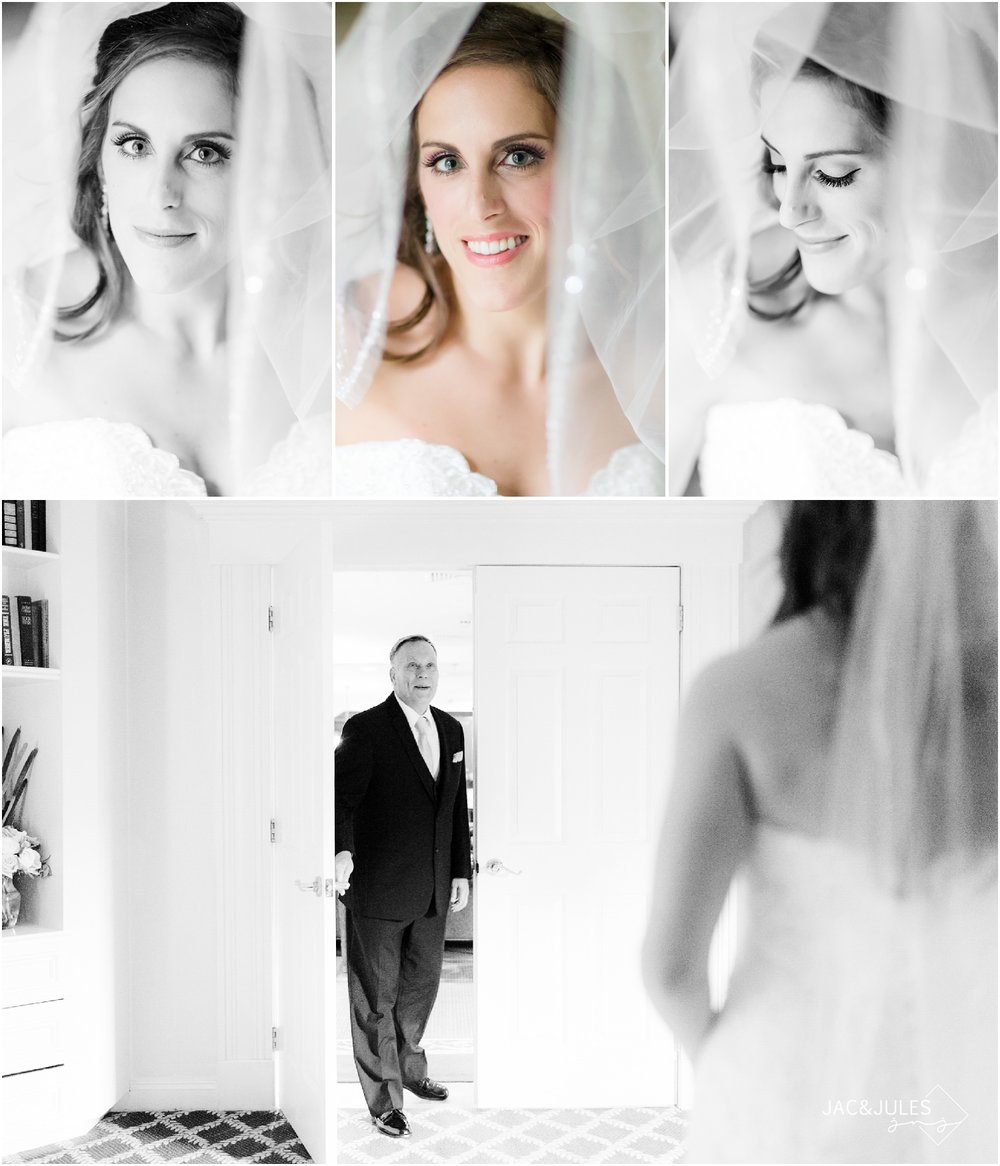 Bridal portraits and first look with dad at The Olde Mill Inn in Basking Ridge, NJ.