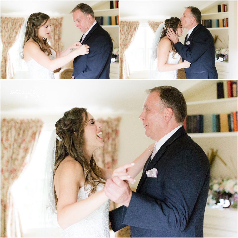First look with bride and dad at The Olde Mill Inn in Basking Ridge, NJ.