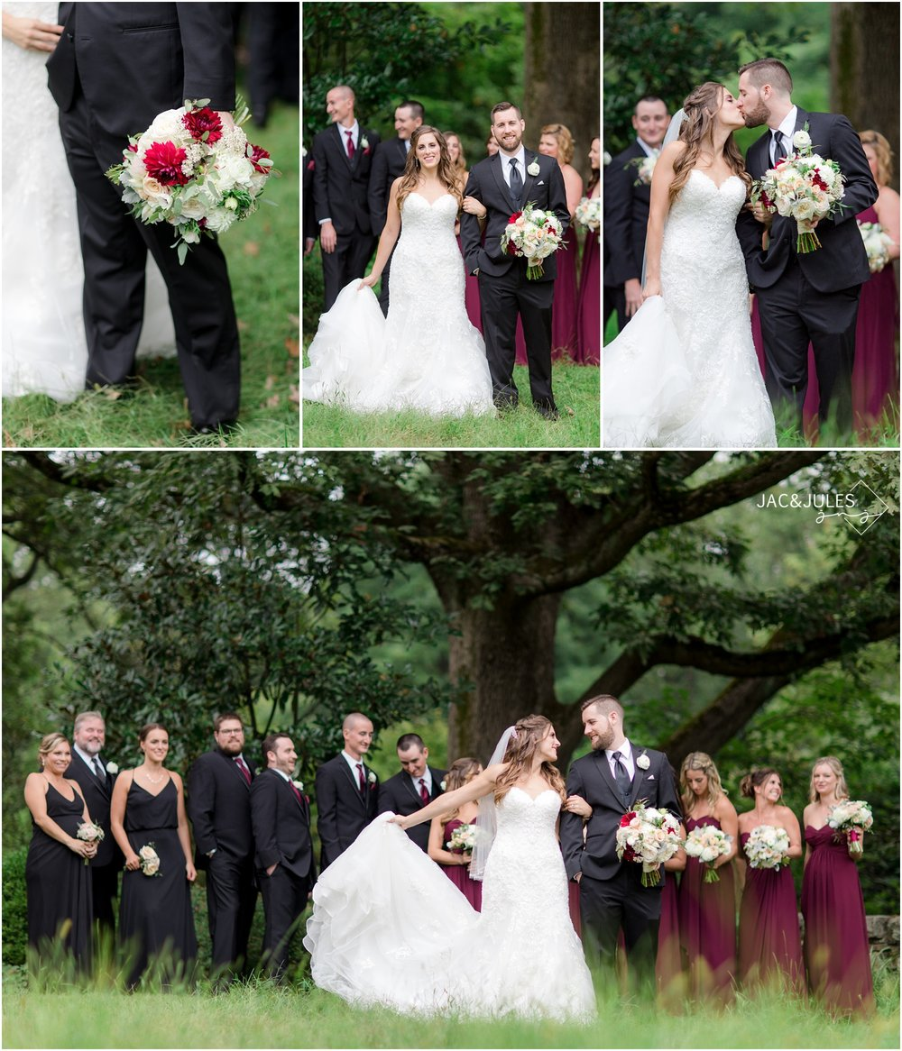 Bride and groom with Bridal Party photos at Cross Estate Gardens in Bernardsville, NJ.