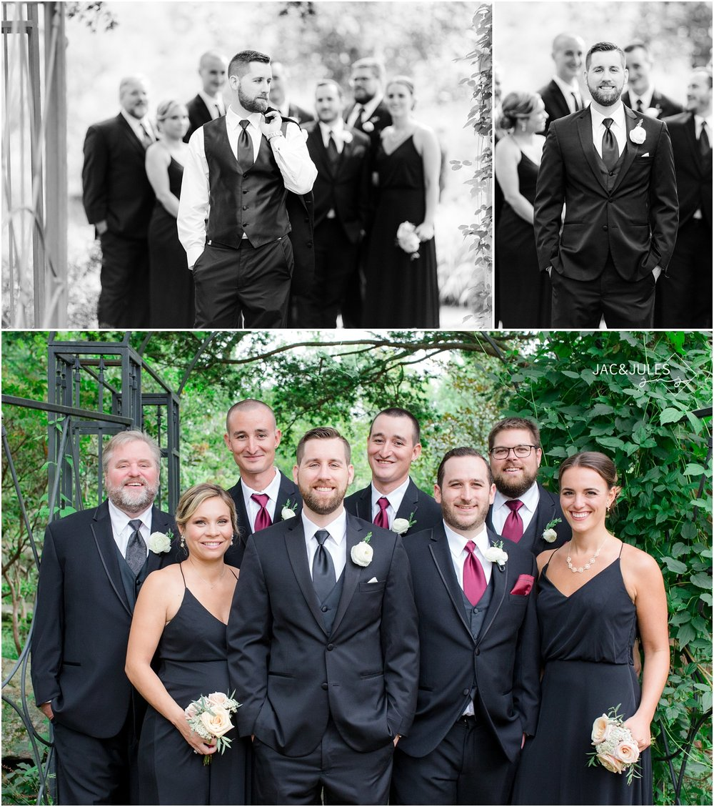 Photos of groomsmen and groomsladies at Cross Estate Gardens in Bernardsville, NJ.