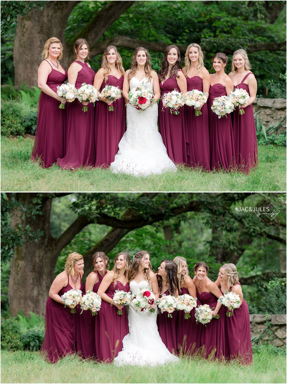 photo of bridesmaids at Cross Estate Gardens in Bernardsville, NJ.