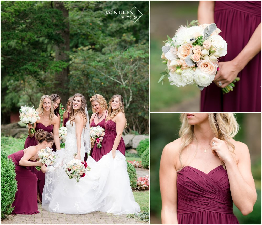 Bridesmaid bouquet photos at Cross Estate Gardens in Bernardsville, NJ.