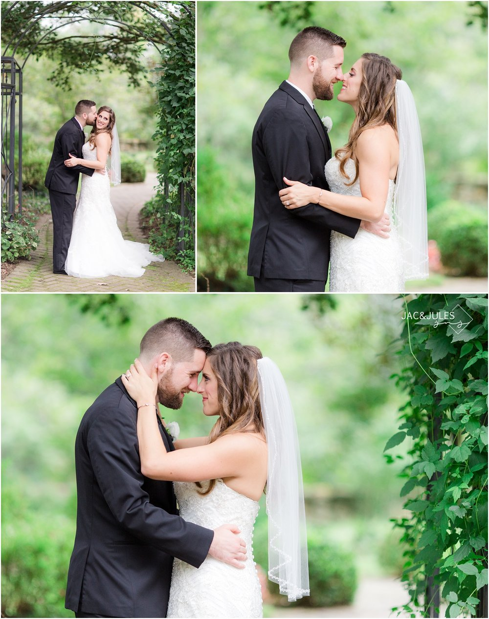Romantic bride and groom photos at Cross Estate Gardens in Bernardsville, NJ.