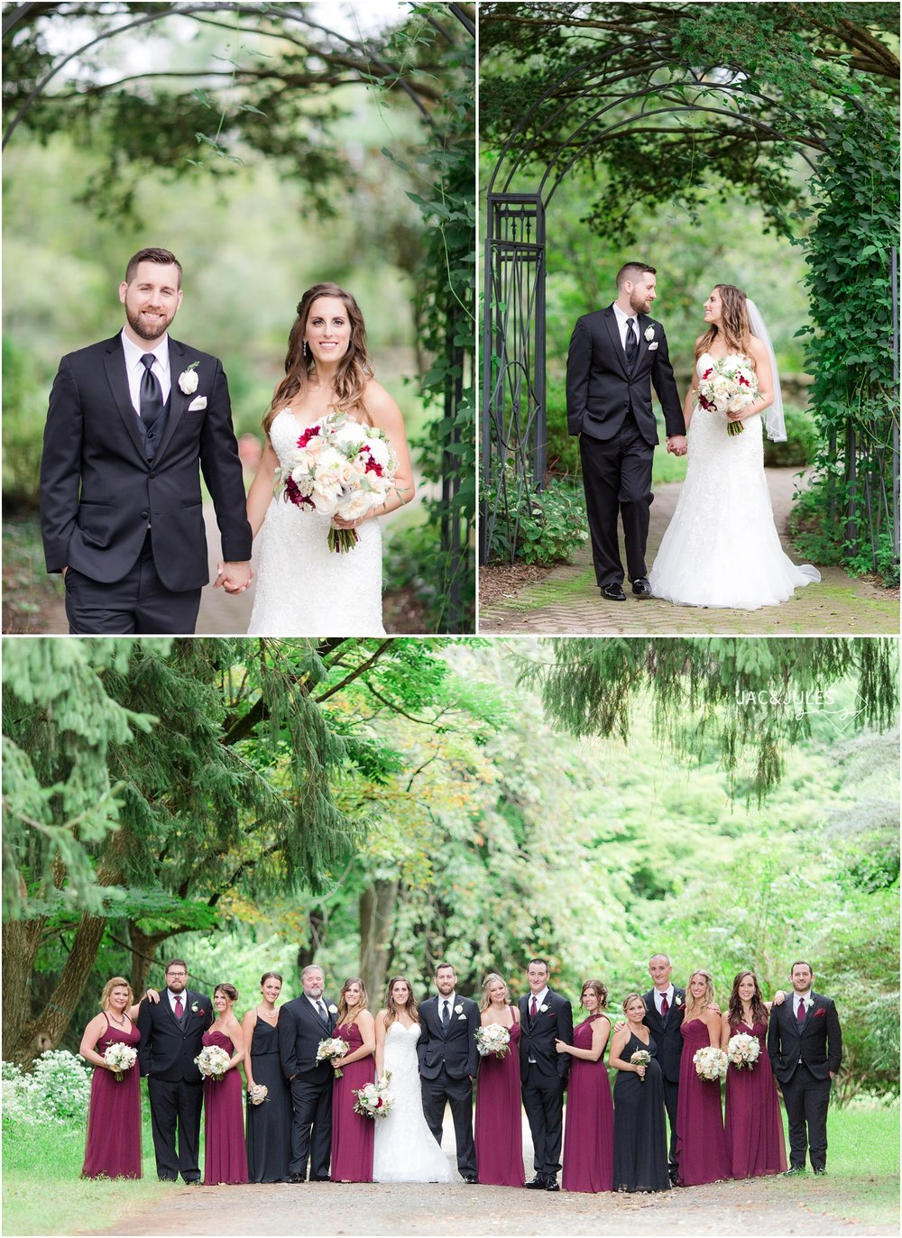 Fun Bridal Party photos at Cross Estate Gardens in Bernardsville, NJ.