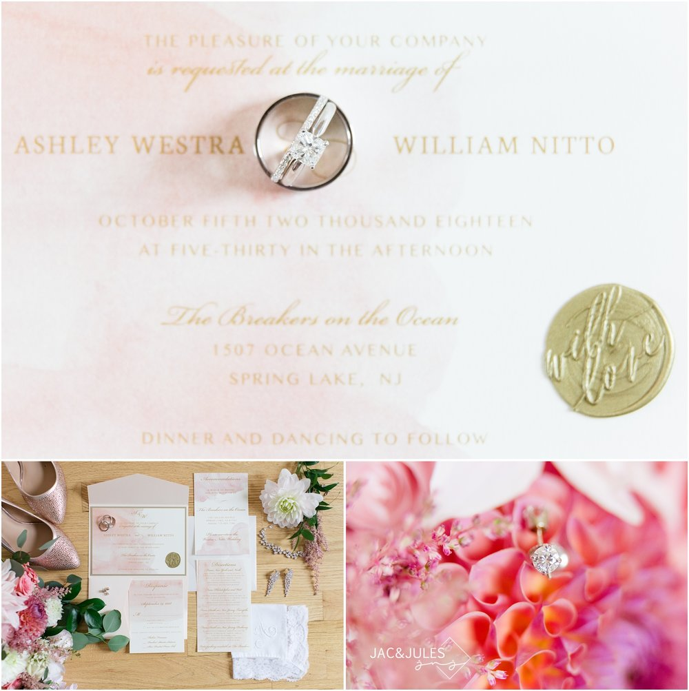 photos of wedding invitations and rings.