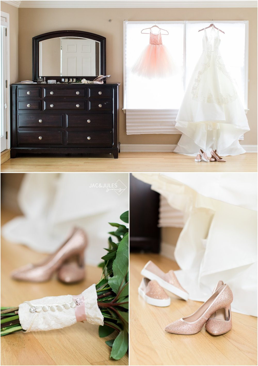 photos of bridal gown and flower girl dress at home in Spring Lake, NJ.